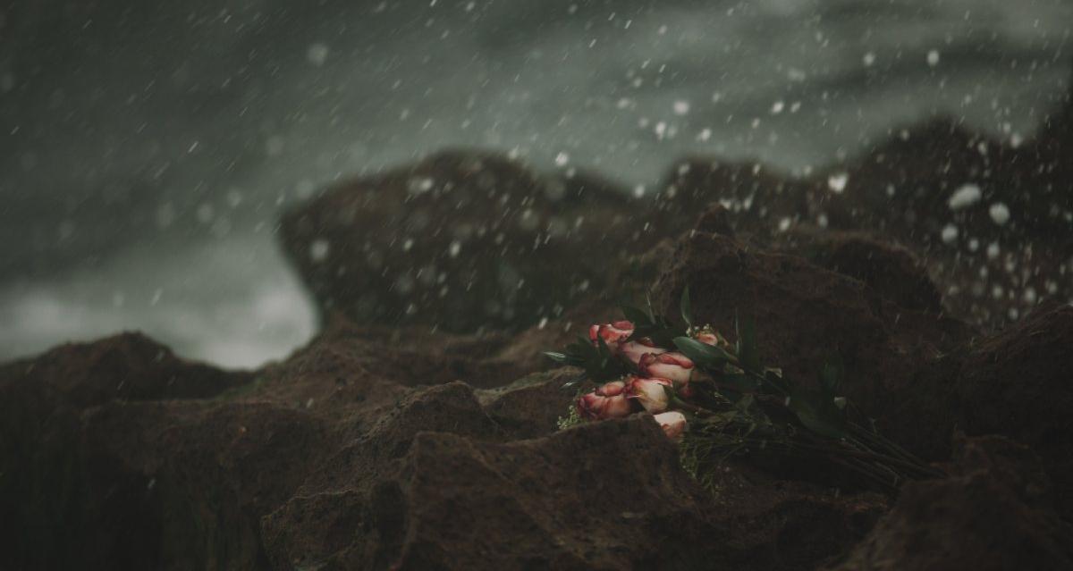 strand boeket rozen donker
