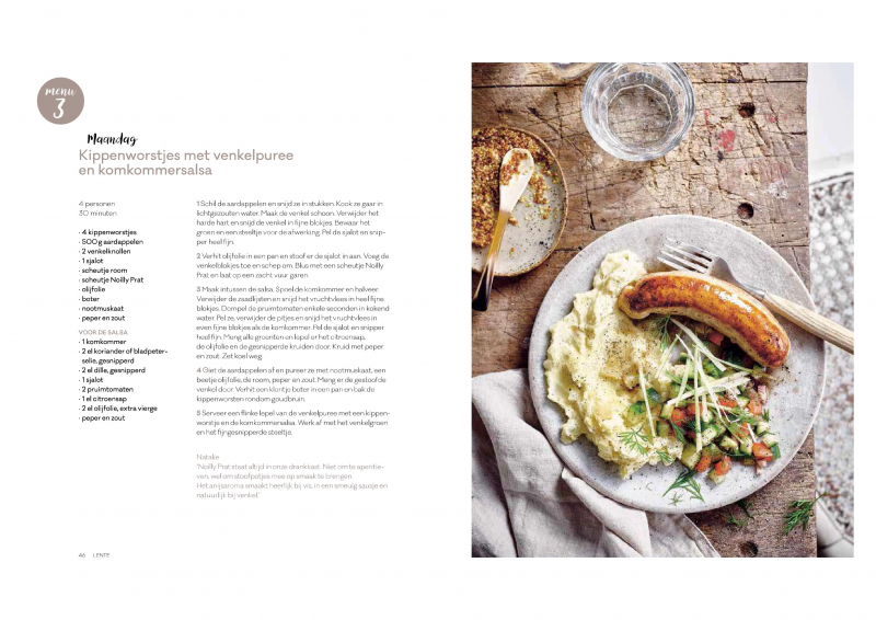 weekmenu maandag - kippenworstjes met venkelpuree en komkommersalsa