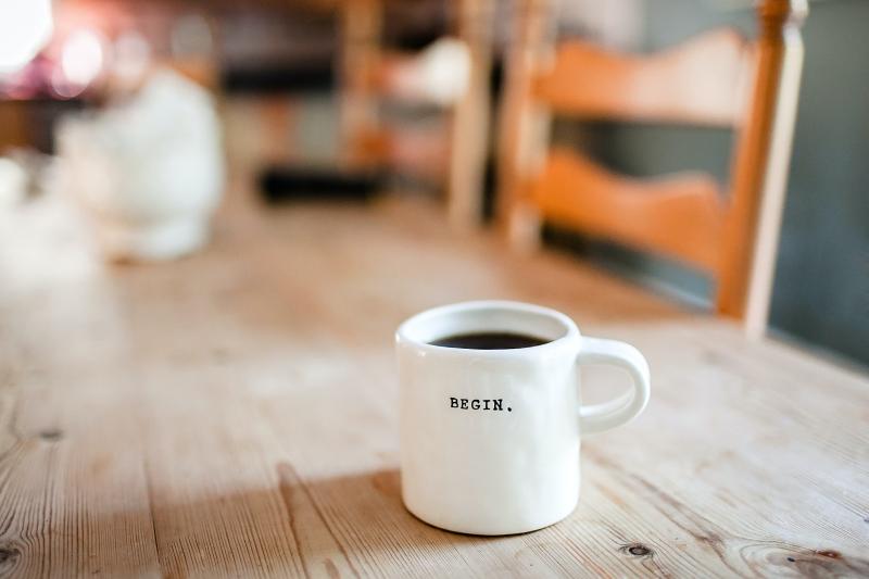 mug with begin on it